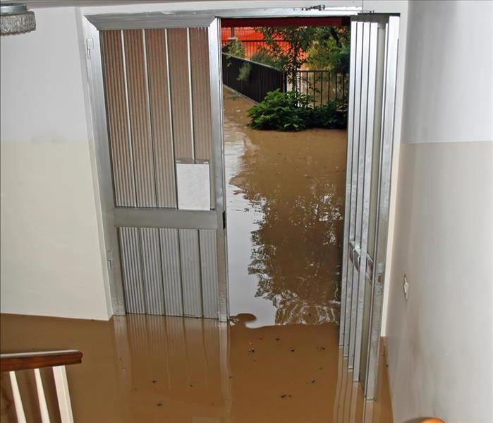 Stairs in room flooded