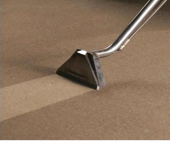 A Carpet Cleaning device is shown cleaning a light colored carpet